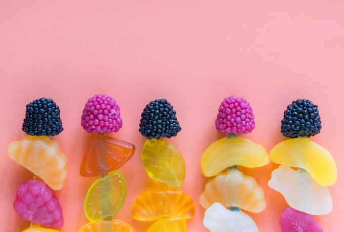 assorted color fruit decors